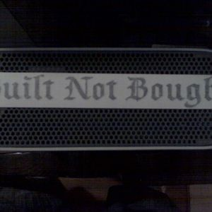 built not bought sticker for the back window