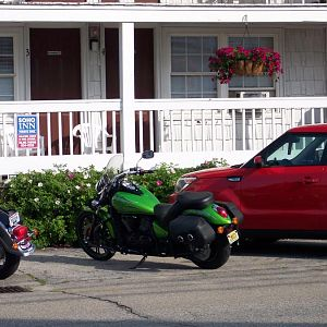 6/30/18 Robin's motorcycle in front of motel in OOB, Maine.